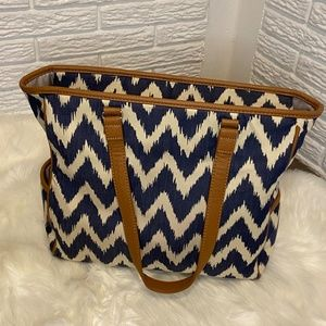 Thirty-One Indigo Ink Blue and White Cindy Tote